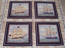 4 Tall Ships Pillow Panels Fabric Ancient Mariners Nautical Cotton