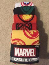 NEW! Avengers Logo-Men's 5-PK Casual Crew Socks (SIZE 8-12)
