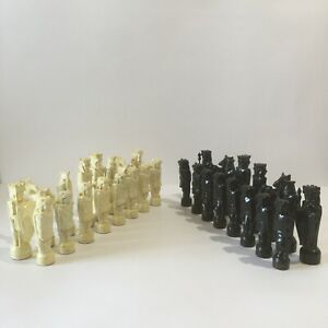 Vintage Wooden Chess Set Russian Vintage Carved Wood
