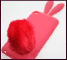 for iPod Touch 4th Gen Red / Pink Bunny Rabbit Tail Hard Rubber Gummy Case Cover