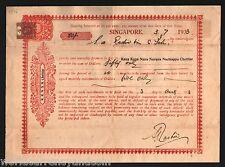 STRAITS SETTLEMENTS KING GEORGE VI 1933 PROMISERY NOTE SINGAPORE POSTAL HISTORY