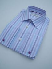 "MENS LILAC BLUE AND WHITE STRIPE COLLAR COTTON SHIRT 15.5"" DOUBLE FRENCH CUFF"