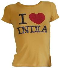 Fix Design T-Shirt maglietta maglia stampa strass gialla donna cotone Taglia  XS