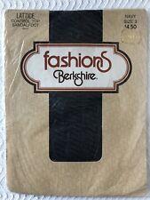 Berkshire Size 3 Plus Control Top Sandalfoot Pantyhose Lattice Motif Navy #4457