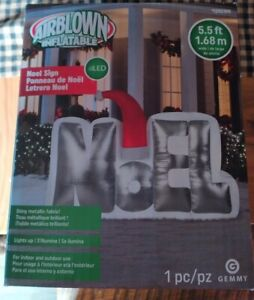 NOEL 5.5 ft Airblown Christmas Inflatable with LED light Shiny Metallic Fabric