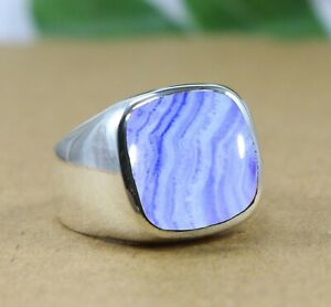 925 Sterling Silver Blue Lace Agate Gemstone Anniversary Mens Ring Size 6 to 14