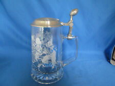 NFL National Football League Etched Glass Beer Stein Pewter Lid With Sticker