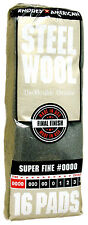 Case Rhodes American Steel Wool Grade 0000 - Super Fine ~ (6 bags of 16 pads)