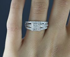 Amidon 14k White Gold Quad Princess Cut Round Diamond Halo Engagement Ring Band
