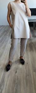 MAX MARA Ecru Thick Cotton Long BLOUSE WITH BROOCH US10 UK14 DE42 L