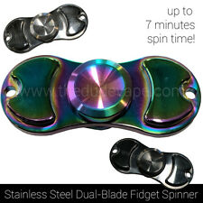 Fidget Spinner Toy   Stainless Steel Dual Hand Spinner   7 Min Spin   Rainbow