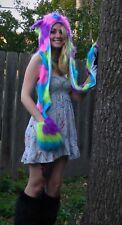 Quad Colored Fuzzy Long Hat - EDM Warm Scarf Faux Fur Cute Rainbow Spirit Hood