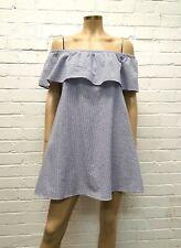 d49d802407 Mink Pink Stunning Pale Blue Striped Off Shoulder Day Dress Size M