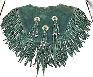 Fringe Concho Capelet Collar Poncho Western Green Suede Leather Beaded Fringed