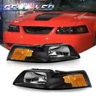 For 1999-2004 Ford Mustang V6 GT SVT Cobra Black Housing Headlights Left+Right  for sale