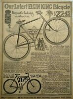 1917 Antique Elgin King Bicycle Art Sears Catalog Page Vintage Print Ad