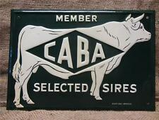 Vintage Embossed Metal CABA Sires Cow Sign > Antique Farm Cattle Scioto Co 9222