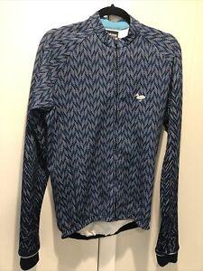 Blackmore Apparel Herringbone Long Sleeve Cycling Jersey Size Large L Blue Rapha