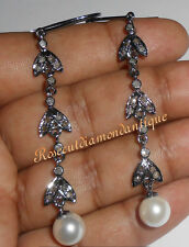 Silver Pearl Victorian Style Dangle Earrings 0.82ct Antique Rose Cut Diamond 925