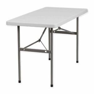 Flash Furniture DAD-YCZ-122-2-GG Plastic Granite Folding Table - White