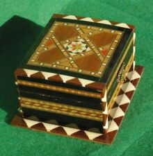 DECORATIVELY INLAID HINGED WOODEN BOX  FINISHED  IN VARNISH #2