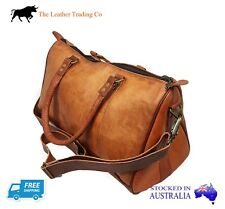 43cm Goat Leather Travel Duffel Overnight Bag - Genuine Hide Carry-On Bag