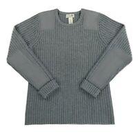 LL Bean Mens 100% Merino Lambs Wool Ribbed  Commando Military Sweater Sz Medium