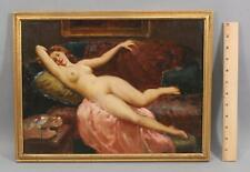 Antique JOSEPH TOMANEK Attributed, Portrait Oil Painting, Reclining Nude Woman