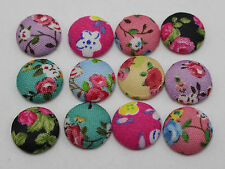 50 Mixed Color Flatback Fabric Flower Covered Buttons 12mm Round Cabochon Craft