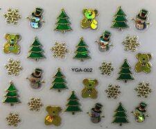 Nail Art 3D Decal Stickers Iridescent Christmas Tree Snowman TeddyBear YGA002