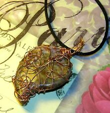 AWESOME HAND-CRAFTED COPPER-WIRE-WRAPPED INDIAN AGATE CRYSTAL HEART PENDANT