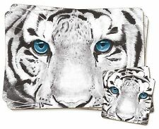 Siberian White Tiger Twin 2x Placemats+2x Coasters Set in Gift Box, AT-11PC