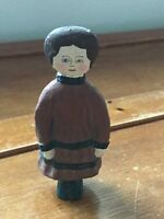 Vintage Small Hand Painted Paper Mache Woman in Burgundy Red & Black Dress Figur