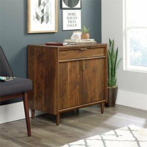 Mid-Century Accent Cabinet w/ Drawer Home Office Storage Organizer Walnut Finish
