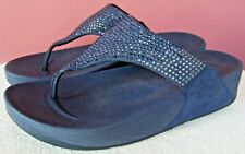 Women's FITFLOP 302-097 Navy Blue Suede Sandals with Rhinestones EU 41 (US 9)