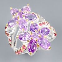 Handmade Natural Amethyst 925 Sterling Silver Ring Size 8/R119930