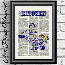 Retro kitchen print mounted on antique dictionary book page wall decor