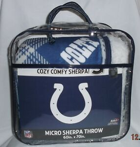 """FOOTBALL NFL INDIANAPOLIS COLTS 60"""" X 70"""" MICRO SHERPA THROW / BLANKET NWT"""