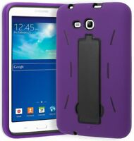 """For Samsung Galaxy Tab 3 Lite 7.0"""" T110, Hybrid Purple and Black Stand Case"""