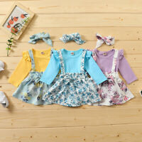 Newborn Baby Girl Long Sleeve Romper Bodysuit+Floral Suspender Skirt Outfits Set