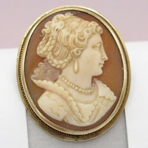 Vtg Art Deco 10k Gold Carved Shell Cameo Lady Brooch Pin Pendant