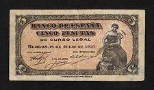 F.C. 5 PESETAS 1937 , B/C , MANCHITAS EN REVERSO , MARGENES SUCIOS .
