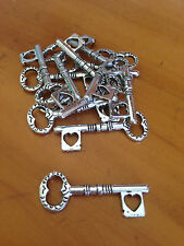 Antique Silver Heart Key Charms / Pendants x 12