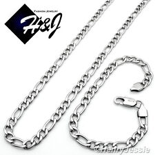"24""MEN's Stainless Steel 7mm Silver Figaro Link Chain Necklace Bracelet SETS"