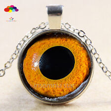 Vintage Cabochon Tibetan Silver Glass frog eye Chain Pendant Necklace zqd94