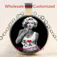 Marilyn Monroe Cabochon Tibetan silver Glass Chain Pendant Necklace #4586