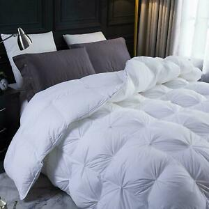 White 1 Piece Pinch pleated Down Alternative Comforter 500 GSM 100% Microfiber