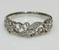 Fine 9ct White Gold Ornate Openwork Diamond Ring