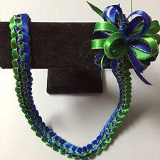 Hawaiian Braid Metalic Edge Ribbon Lei Royal Blue Green