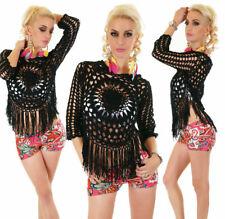 Sexy Italy Moda Häkel Shirt Tunika Bluse One Size 34 - 38 Schwarz